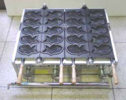 画像1: たい焼機 5匹x2連(テフロン仕上)