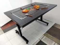 画像3: 鉄板焼きテーブル 2本足長 キャスター付き