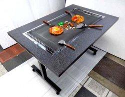 画像1: 鉄板焼きテーブル 2本足長 キャスター付き