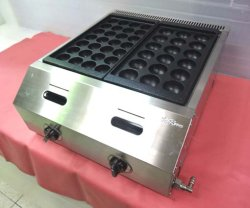 画像1: バック排気型 たこ焼器 鉄鍋2連 都市ガス