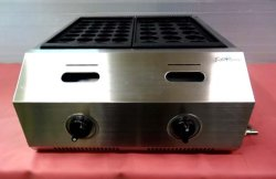 画像3: バック排気型 たこ焼器 鉄鍋2連