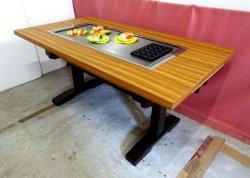 画像1: たこ焼+鉄板焼(お好み焼)兼用テーブル 6人用 ガス用