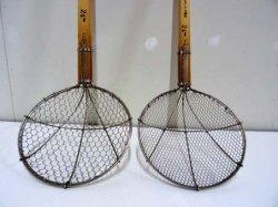 画像1: 直径24cm 木柄金網杓子(すくい網・ガラ揚げ)