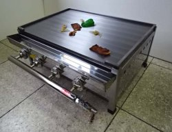 画像1: ステーキ用 鉄板焼き器 パイプバーナー付(厨房用)