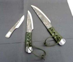 画像1: カスタム ナイフ  焔 HOMURA 両刃 レザーケース付き