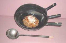 画像1: 中華お玉 パイプ柄 鉄製 中サイズ
