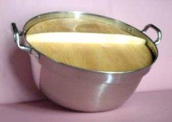 画像1: ステン 料理鍋 両手(段付鍋)+木蓋付き